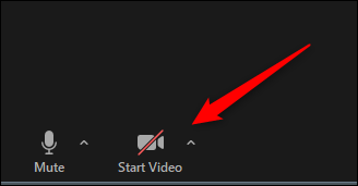 Start video button on Zoom call