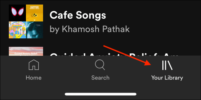 Cambie a la pestaña Su biblioteca en Spotify