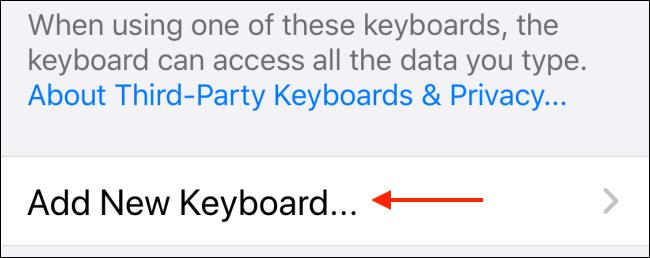 Tap Add New Keyboard