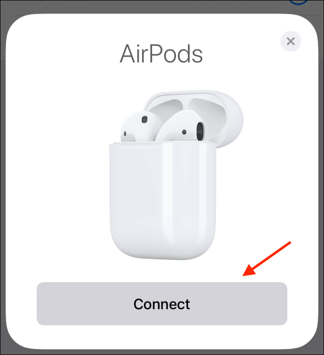 Tap Continue from AirPods popup