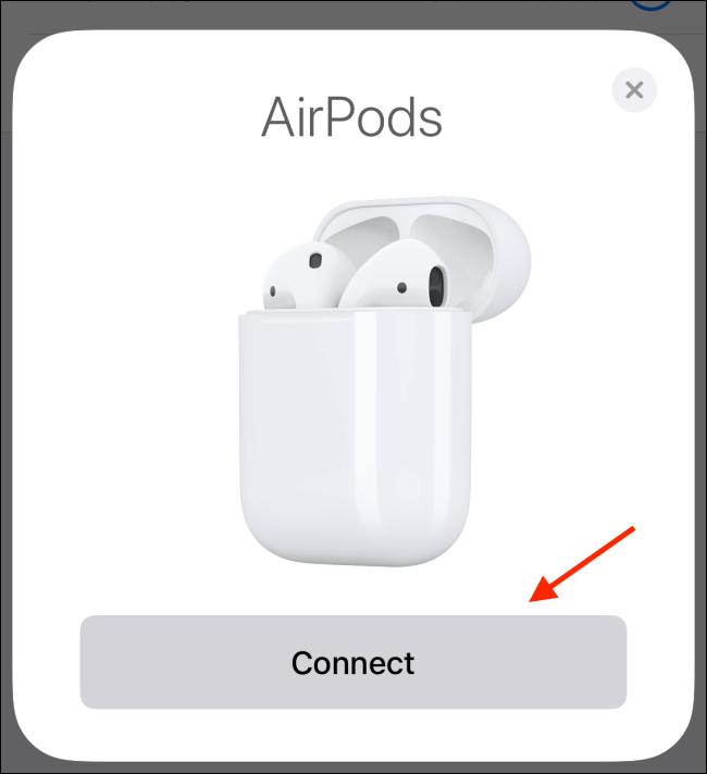 Toque Continuar desde la ventana emergente de AirPods