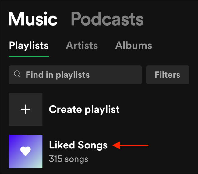 Tap Liked Songs from Library