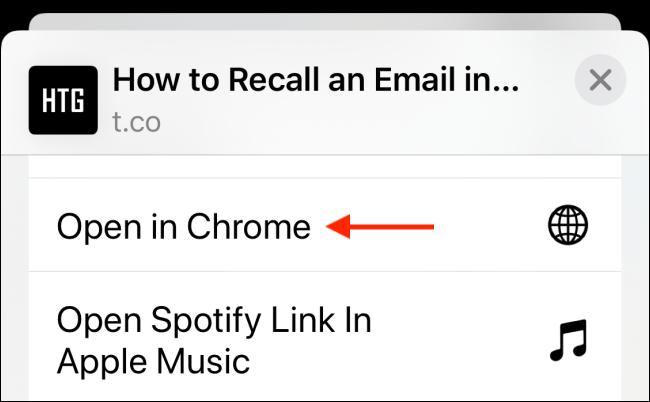 Toque Abrir en Chrome desde Compartir hoja