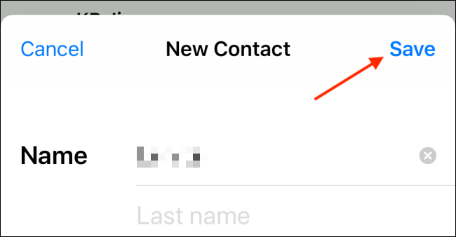 Tap Save button from contact card on iPhone