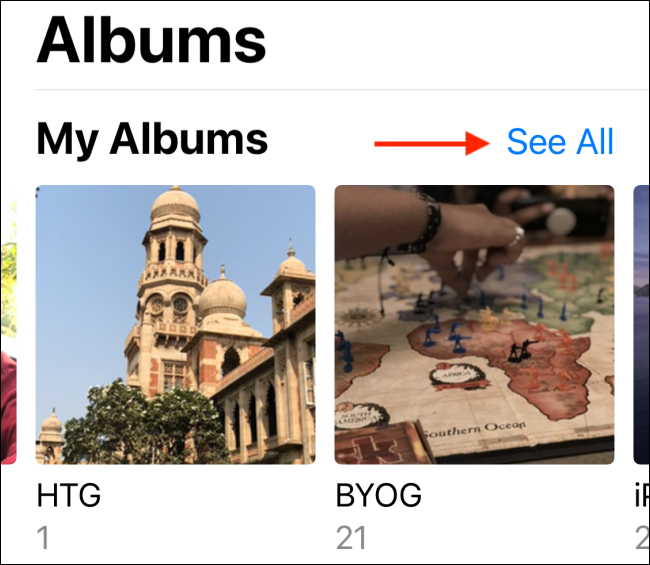 Tap See All from Albums