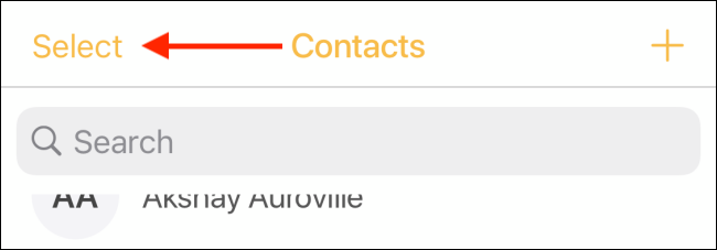 Tap Select button from Contacts tab
