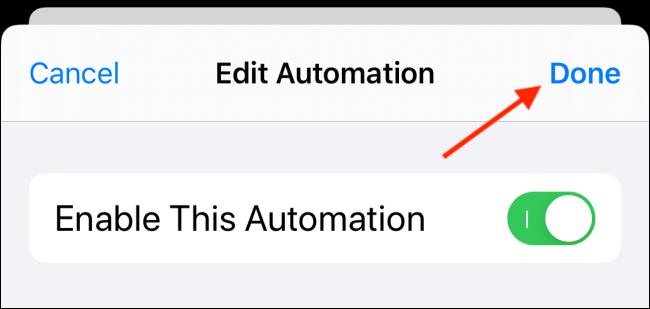 Toque Listo desde la pantalla de edición de automatización