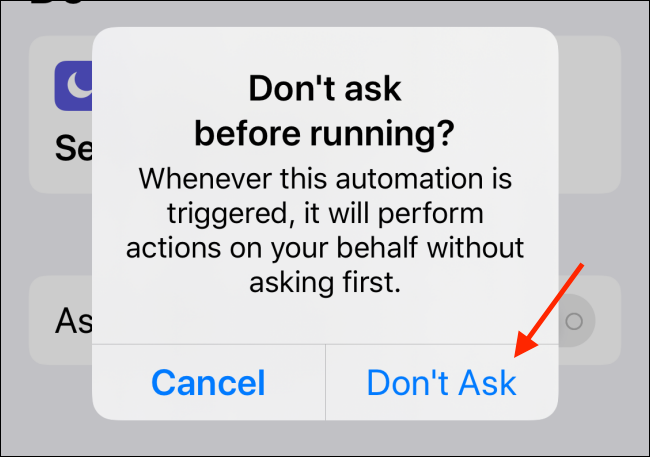 Toque el botón No preguntar