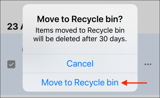 Tap on Move to Recycle Bin