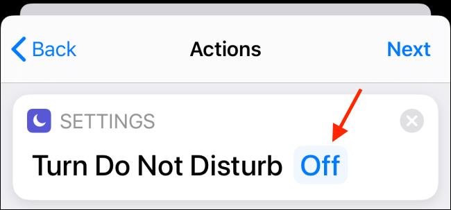 Toque el botón Apagado junto a No molestar