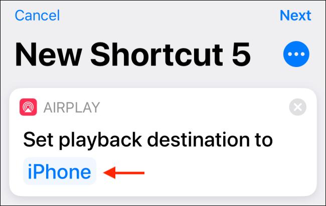 Tap on iPhone destination