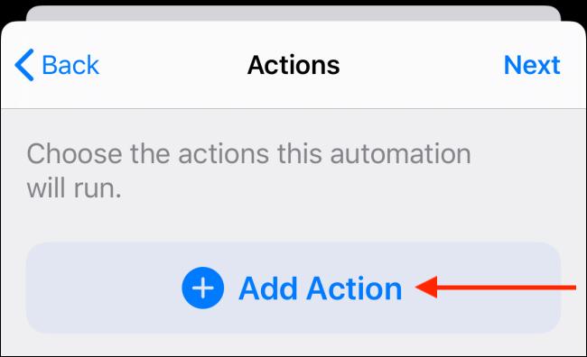 Toque el botón Agregar acción