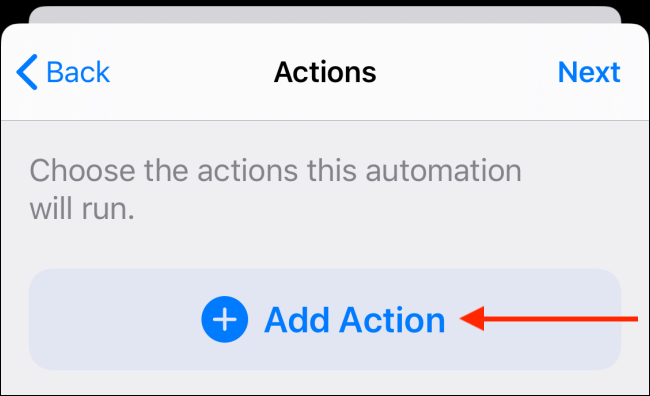 Tap the Add Action button