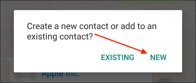 Tap the New button for contact on Android