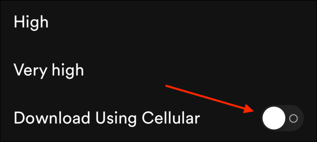Toca la palanca junto a Descargar usando celular