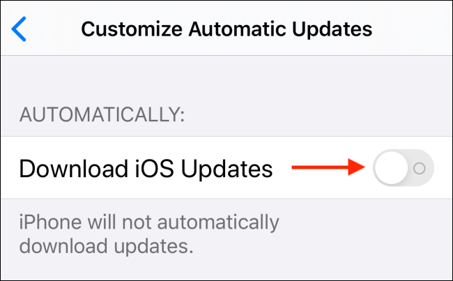 Tap toggle next to Download iOS Updates