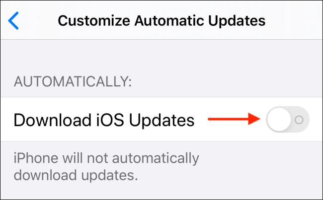 Toque alternar junto a Descargar actualizaciones de iOS