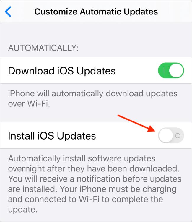 Toque alternar junto a Instalar actualizaciones de iOS