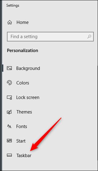 Opção da barra de tarefas no painel esquerdo do menu de configuração