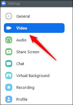 Video option in left-hand pane