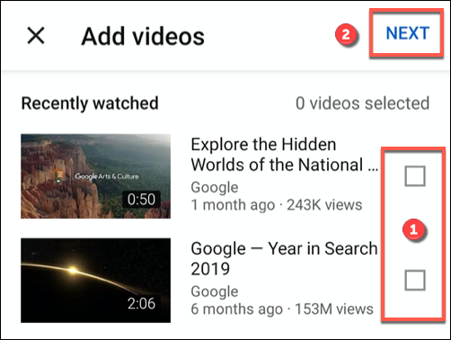 Tap the checkbox next to a recent video (or videos), then press Next to add it to a new playlist
