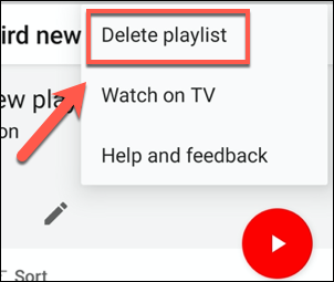 Tap Delete playlist to begin deleting a playlist in the YouTube app