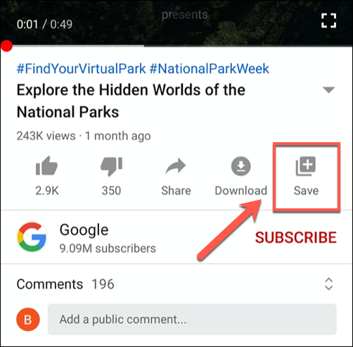 """Click the """"Save"""" button in the YouTube mobile app"""