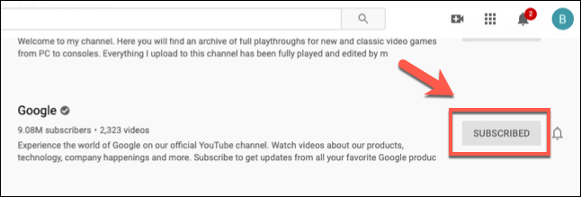 Click the Subscribed button to unsubscribe from a channel