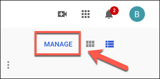 Click Manage to manage your YouTube subscriptions
