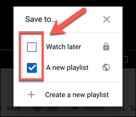 Tap the checkbox next to a playlist in the Save To options box on YouTube to add or remove it from a playlist