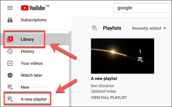 A created YouTube playlist