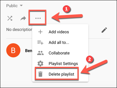 Tap the three-dots menu icon, then click Delete Playlist to begin deleting a YouTube playlist