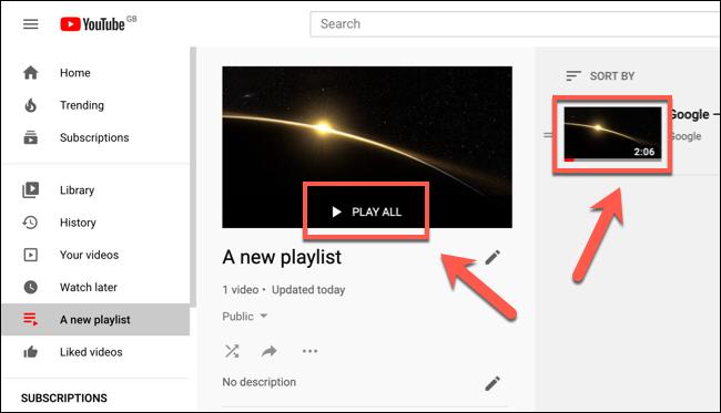 Haga clic en Reproducir todo o haga clic en una miniatura de video para comenzar a reproducir una lista de reproducción de YouTube