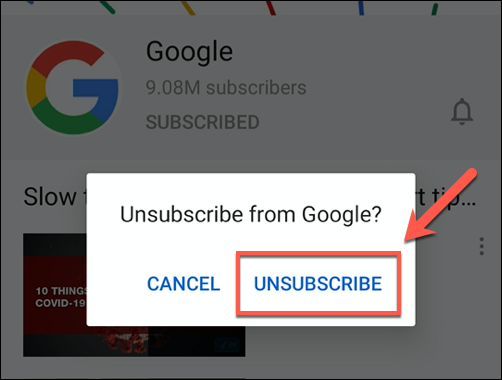 Tap unsubscribe to unsubscribe from the YouTube channel