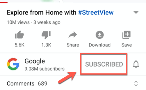 Tap Subscribed to unsubscribe from a video in the YouTube app