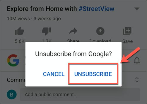 Tap unsubscribe to unsubscribe from a YouTube channel