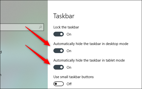 auto hide the taskbar in desktop and table mode