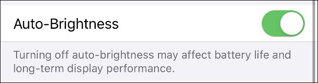 "The ""Auto-Brightness"" option on iPhone."
