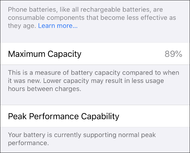 "The ""Maximum Capacity"" and ""Peak Performance Capability"" info on iPhone."