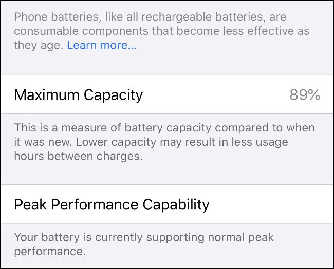 "The ""Maximum Capacity"" and ""Peak Performance Capability"" info on iPhone."