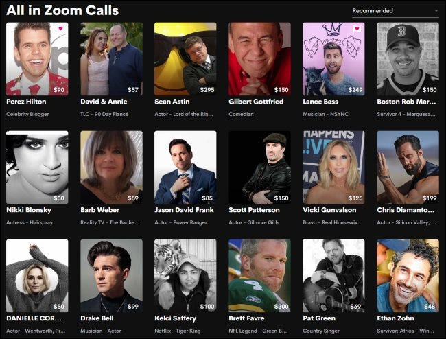 Celebrities offering Zoom calls on Cameo