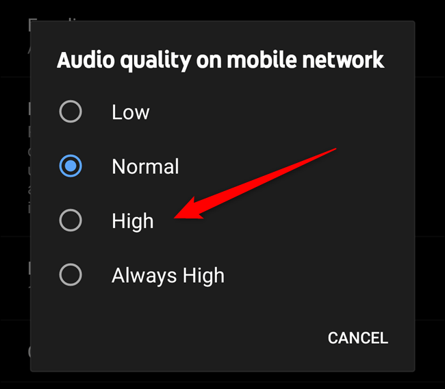 "Select the ""High"" or ""Always High"" option"