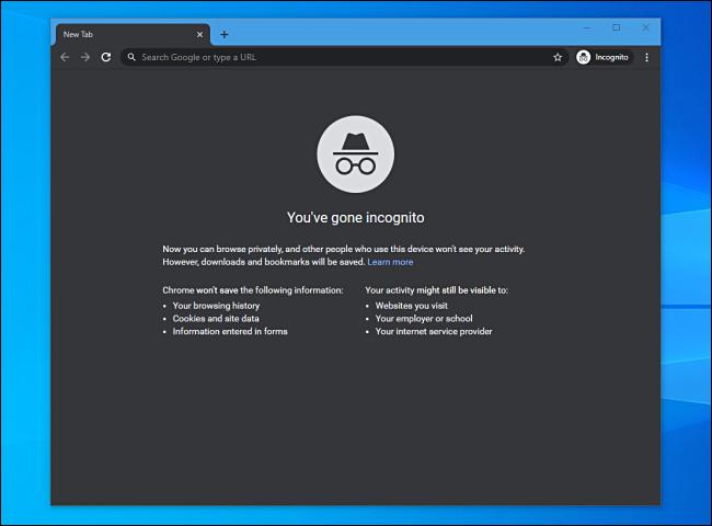 Incognito mode in Google Chrome on Windows 10.