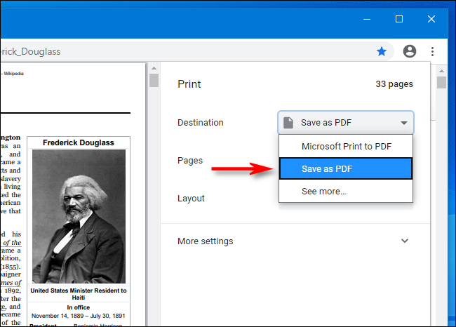 Seleccione Guardar como PDF en el menú desplegable en Google Chrome