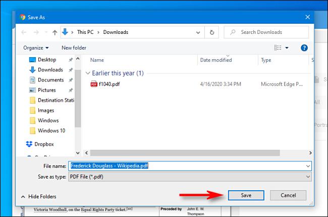 Haga clic en Guardar en el cuadro de diálogo de guardar archivo en Google Chrome