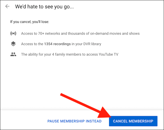 "Click the ""Cancel Membership"" button to finalize your account's cancelation"