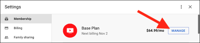 """Click the """"Manage"""" button next to the Base Plan listing"""
