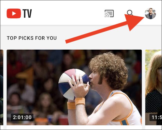 Haz clic en tu avatar de YouTube TV en la esquina superior derecha de la aplicación.