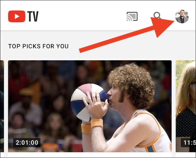 Click you YouTube TV avatar in the top-right corner of the app