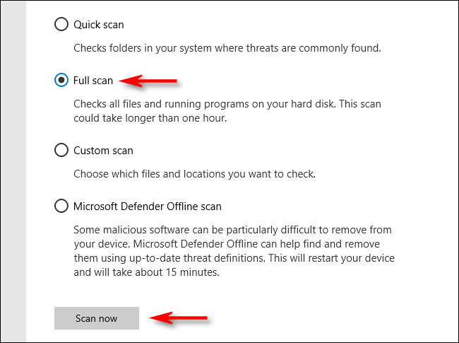 Click Full Scan in Microsoft Defender on Windows 10